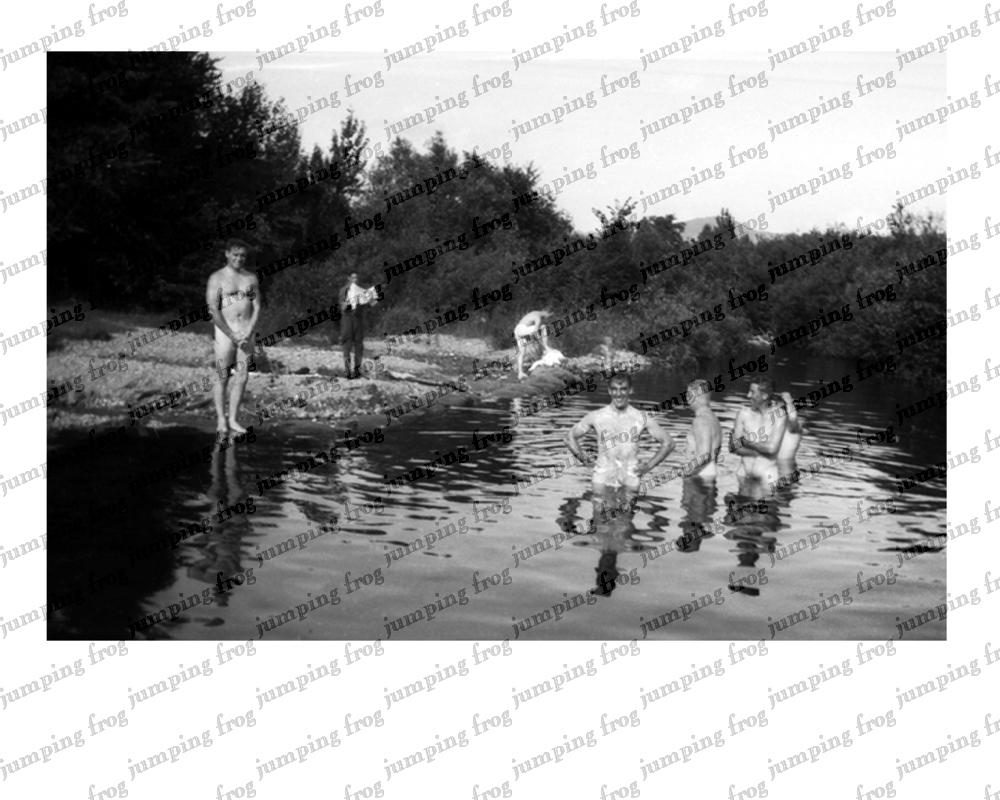 Fort Ethan Allen VT men bathing in river 1931 8x10