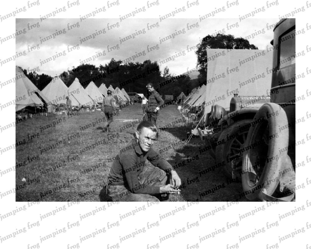 Motorpool smoke break tents Fort Ethan Allen 1931 8x10