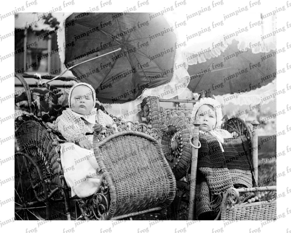 2 babies fancy wicker carriages parasols 8x10 ca 1880s