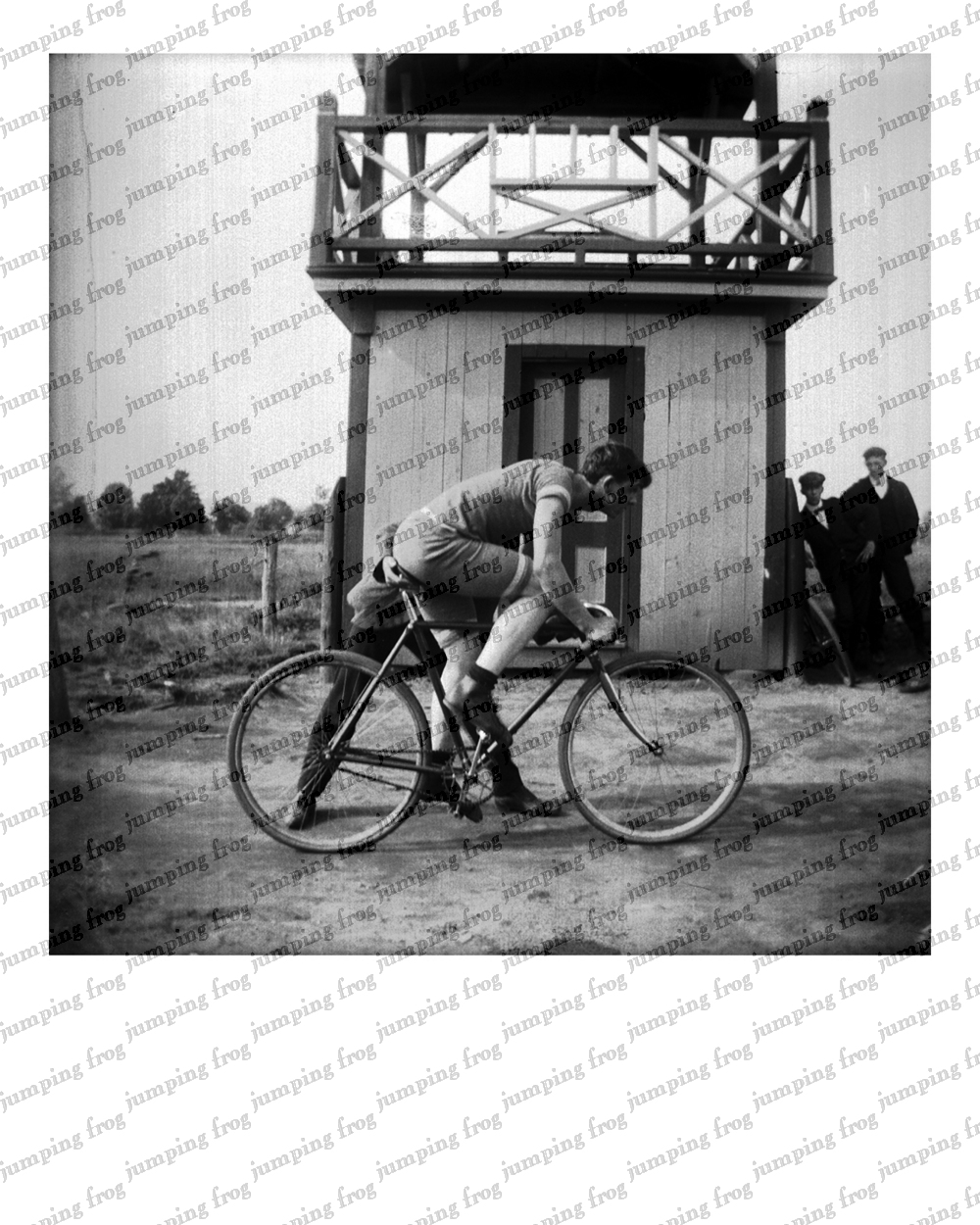 Bicyclist & friends observation tower 8x10 ca 1890s