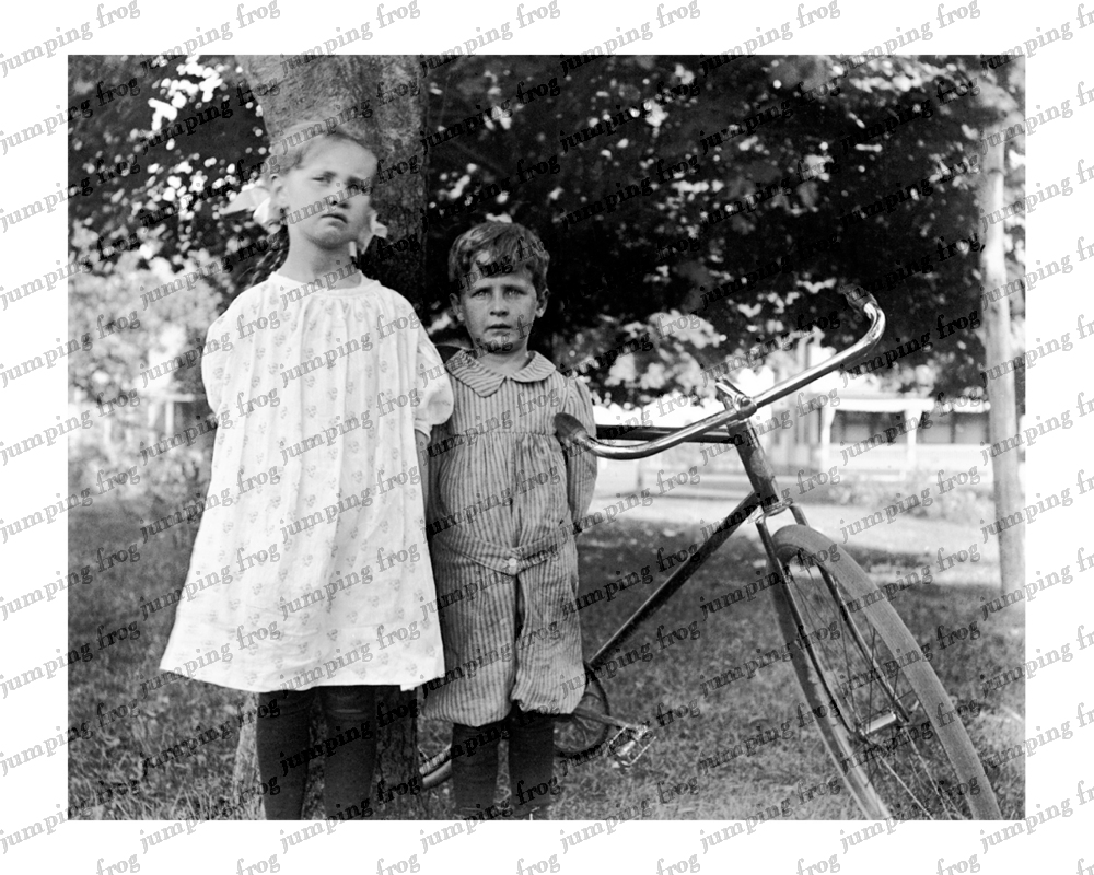 A girl, a boy & a bicycle under a tree 8x10 ca 1890s