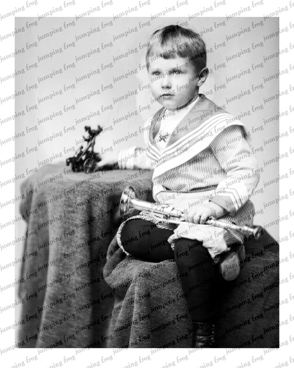 Boy sailor suit cast-iron toy & bugle 8x10 ca 1890s