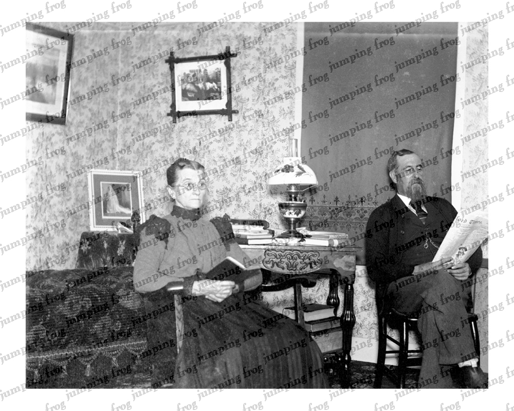 Older couple read at home 8x10 ca 1890s Hartford Times