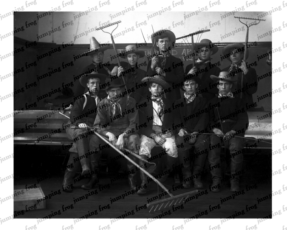 10 boy farmers with rakes & straw hats 8x10 ca 1890s