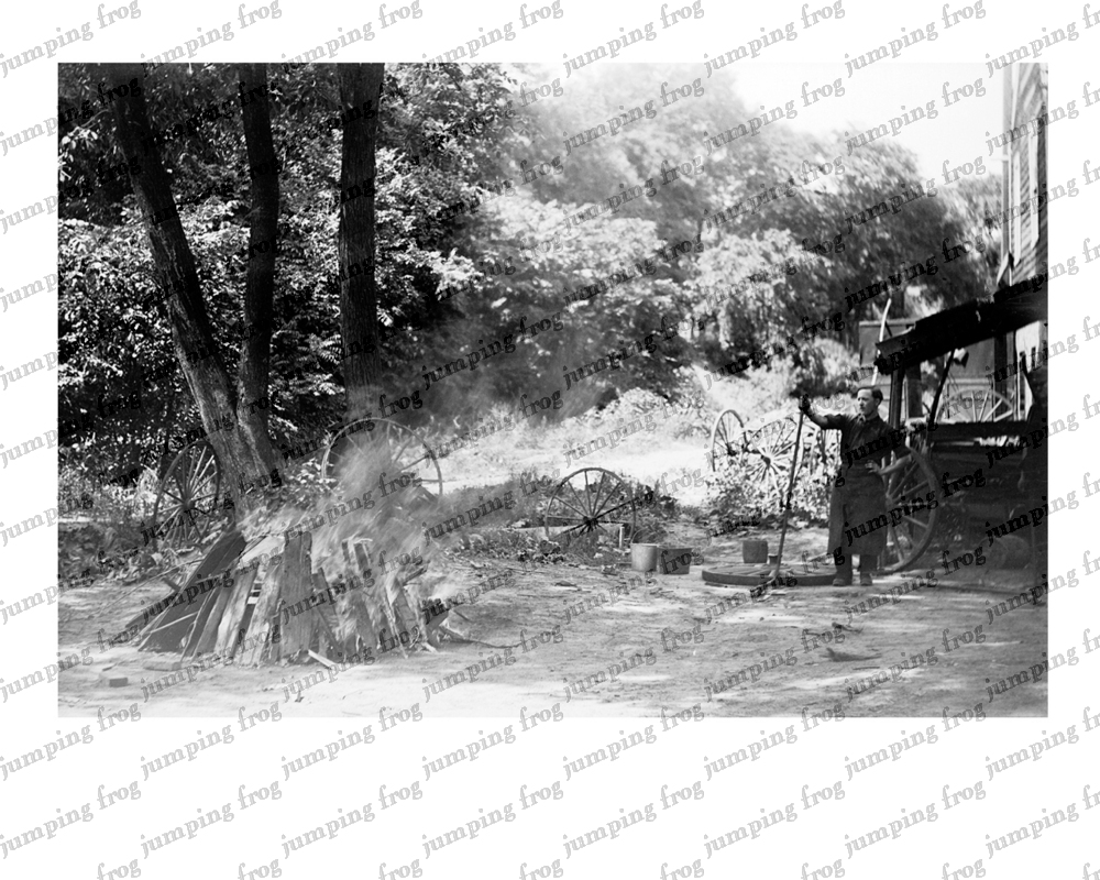 Wheelwright bonfire rural farm scene 8x10 ca 1880s