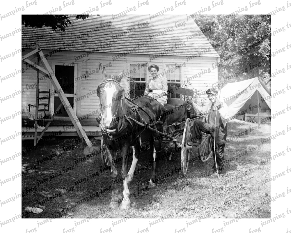 Smiling farm couple horse & buggy tent 8x10 ca 1880s