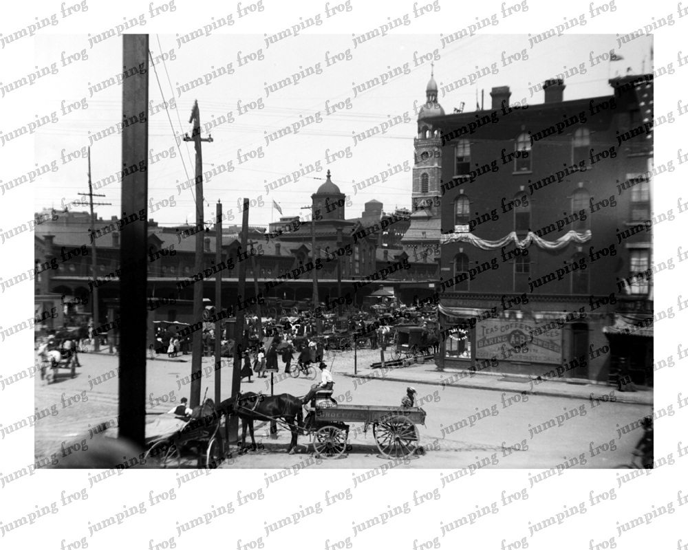 RR Station Gennesee St wagon 8x10 ca 1880s