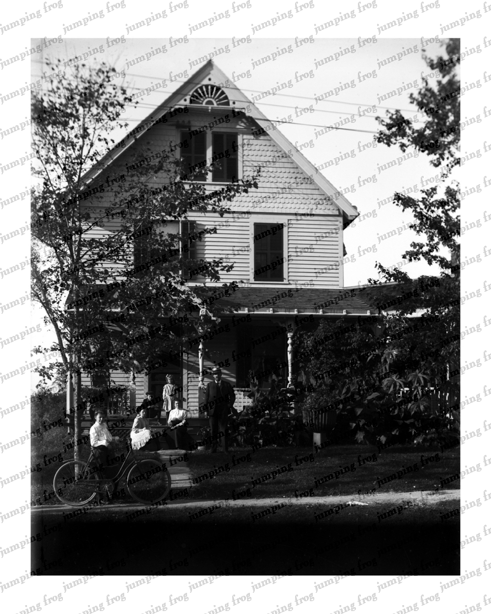 Girl's bicycle & family & homestead 8x10 ca 1890s