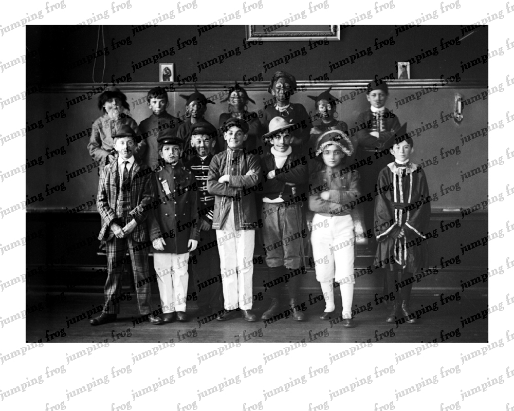 14 boys school play costumes & blackface 8x10 ca 1880s