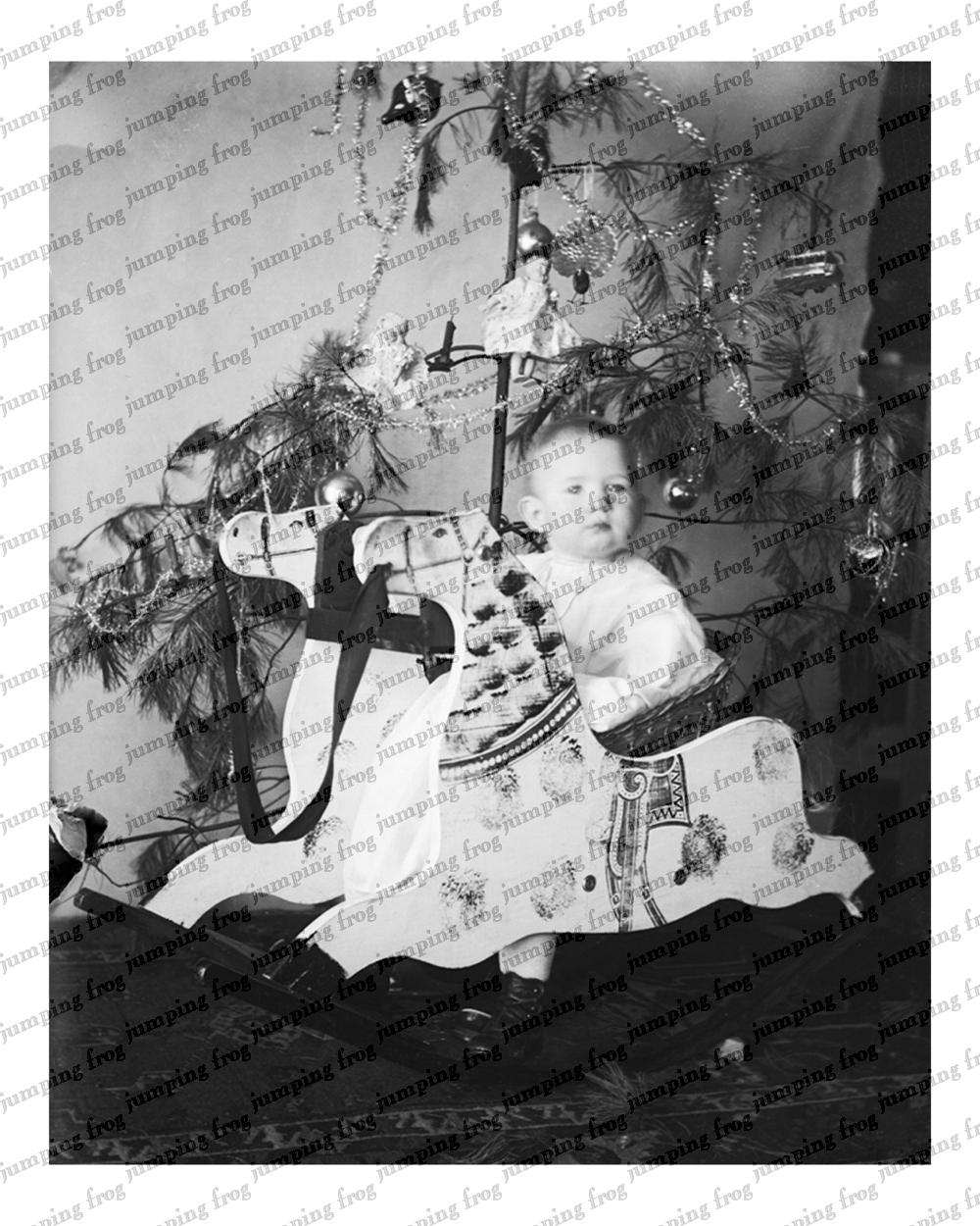 Christmas tree baby on rocking horse 8x10 ca 1890s