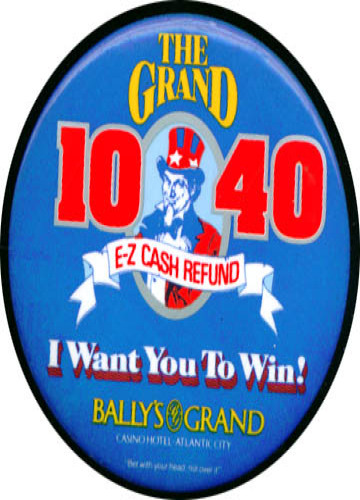 Bally's 1040 E-Z Cash Refund casino pinback