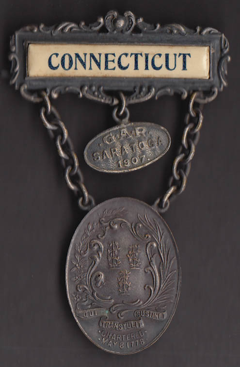 41st GAR Encampment pin Saratoga NY 1907 Connecticut delegate