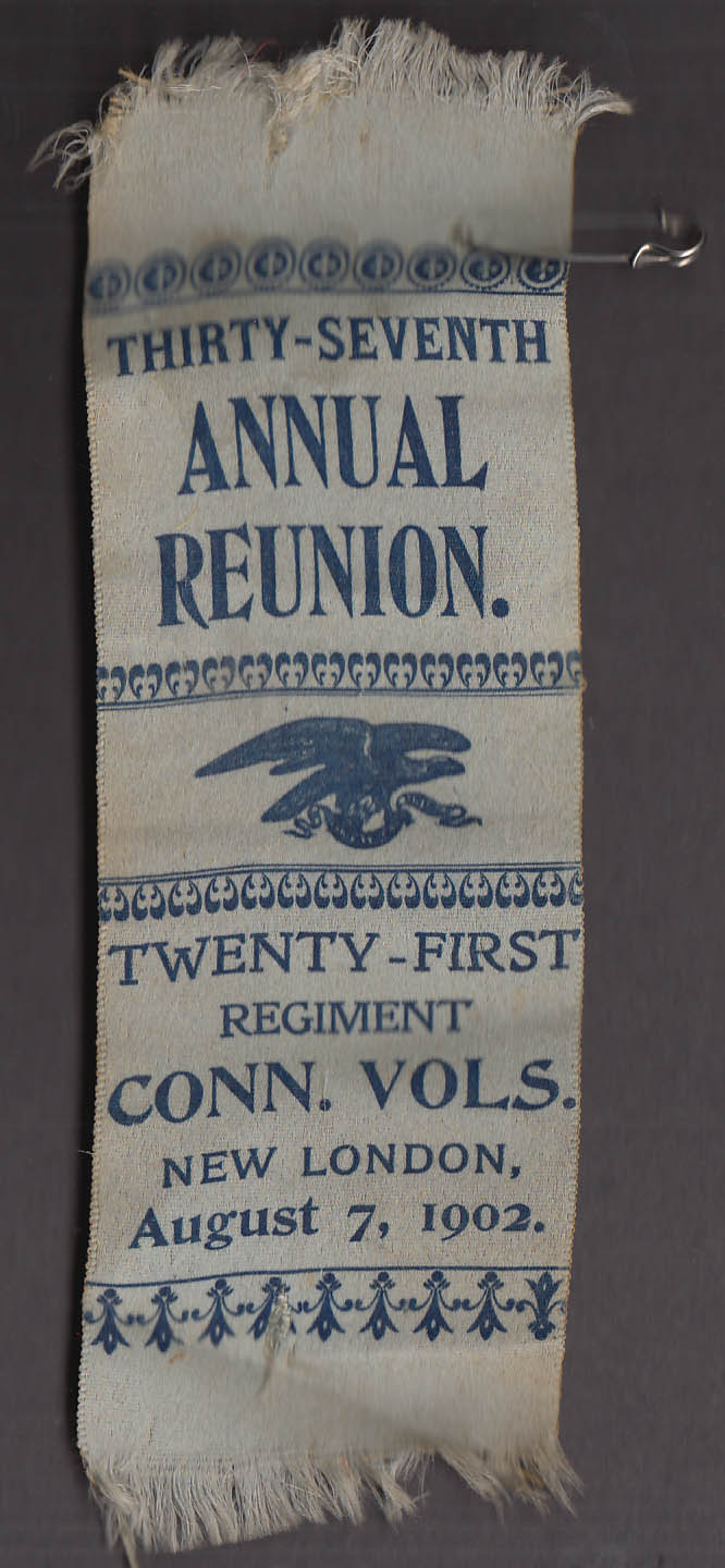 27th Reunion 21st Regiment CT Volunteer Infantry ribbon & pin 1902