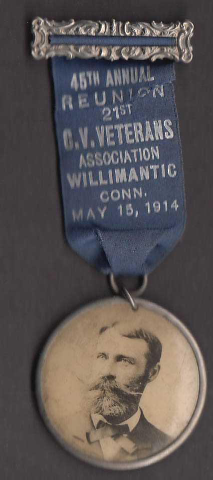 45th Annual Reunion 21st CT Volunteer Infantry pin Willimantic 1914
