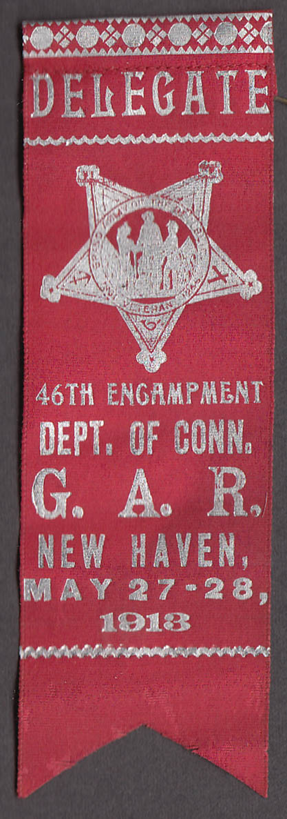 46th Annual Reunion 21st Connecticut GAR delegate ribbon New Haven 1913