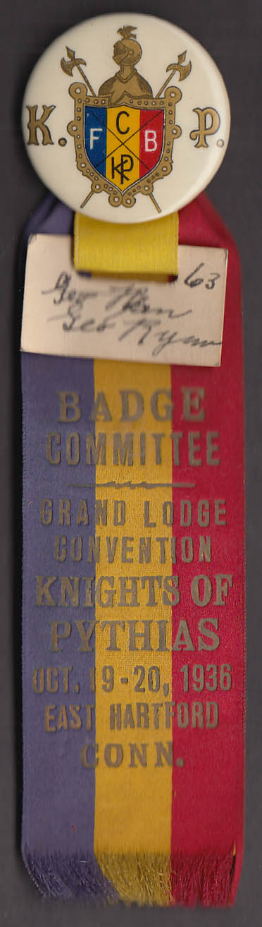 Knights of Pythias Grand Lodge Convention East Hartford CT pin 1936