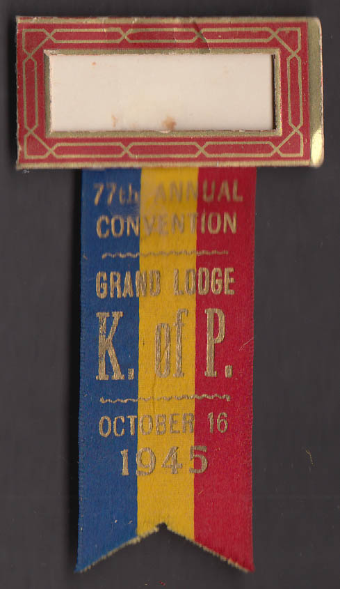 Knights of Pythias 77th Grand Lodge Convention pin 1945