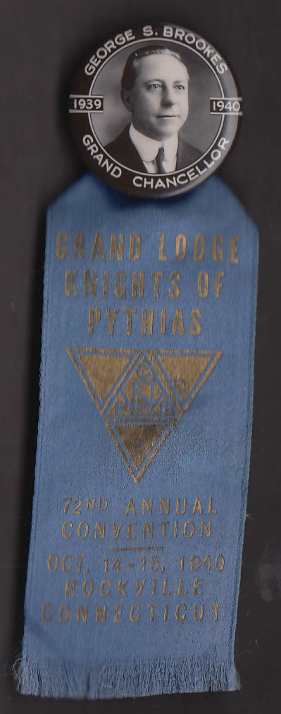 Knights of Pythias 72nd Grand Lodge Convention Rockville CT pin 1940
