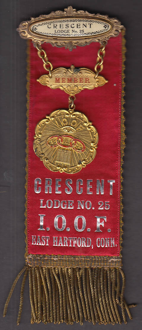Odd Fellows Crescent Lodge #25 East Hartford CT honorary badge