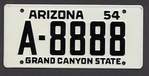Arizona Wheaties License Plate 1954