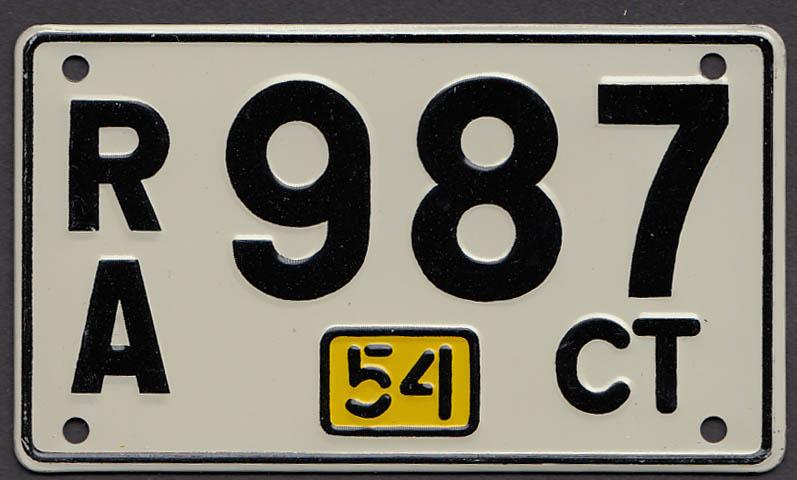 Connecticut Wheaties License Plate 1954