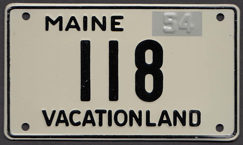 Maine Wheaties cereal License Plate 1954