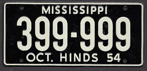 Image for Mississippi Wheaties License Plate 1954