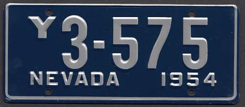 Nevada Wheaties License Plate 1954