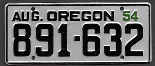Oregon Wheaties License Plate 1954