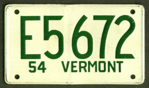 Image for Vermont Wheaties cereal License Plate 1954