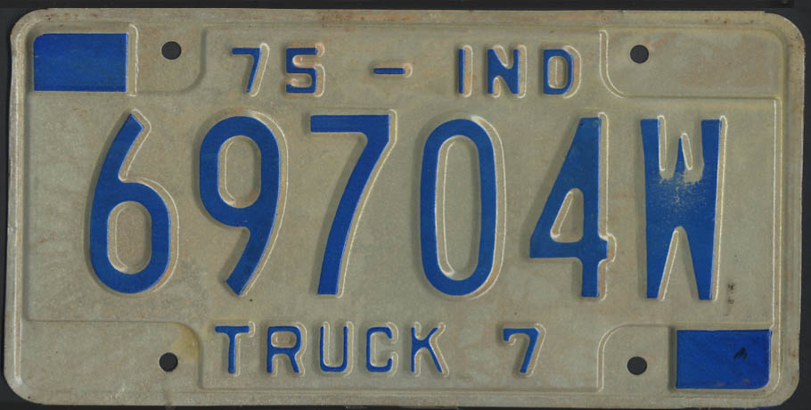 1975 Indiana Truck 7 license plate 69704W