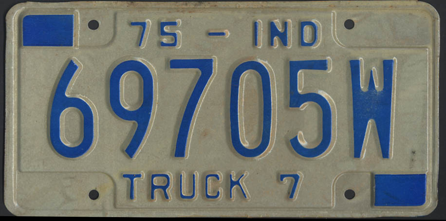 Image for 1975 Indiana truck 7 license plate 69705W