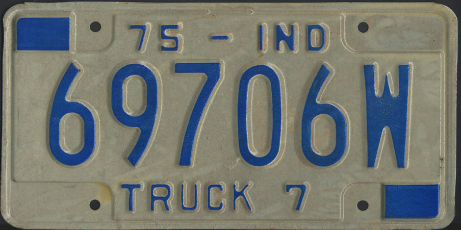 Image for 1975 Indiana truck 7 license plate 69706W