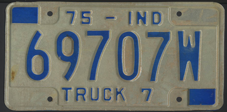1975 Indiana truck 7 license plate 69707W
