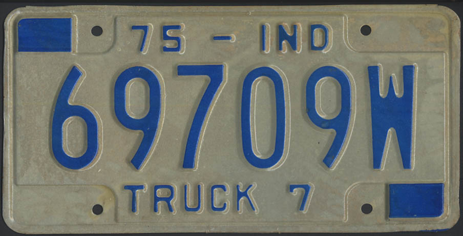 1975 Indiana truck 7 license plate 69709W