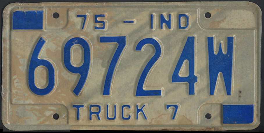 1975 Indiana truck 7 license plate 69724W
