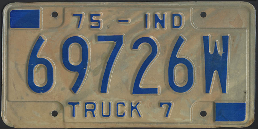 1975 Indiana truck 7 license plate 69726W