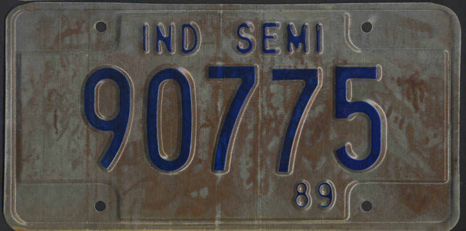 Image for 1989 Indiana Semi Truck license plate 90775