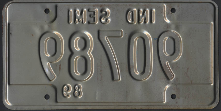 1989 Indiana Semi Truck license plate 90789