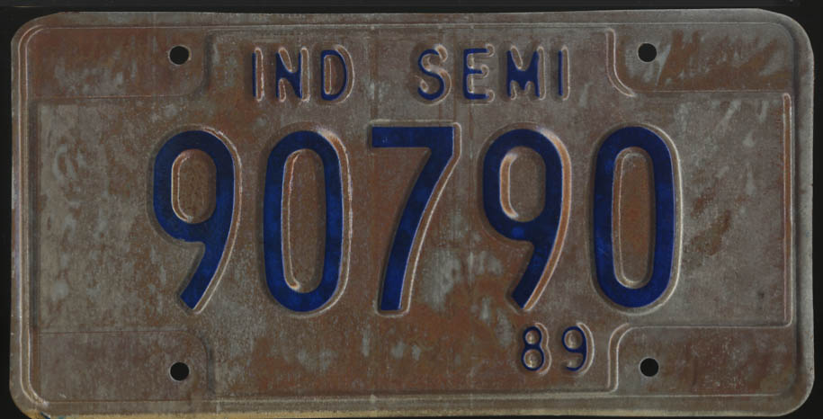 1989 Indiana Semi Truck license plate 90790
