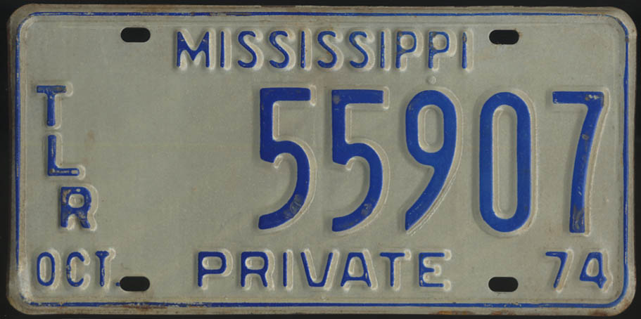 1974 Mississippi Private Trailer license plate 55907