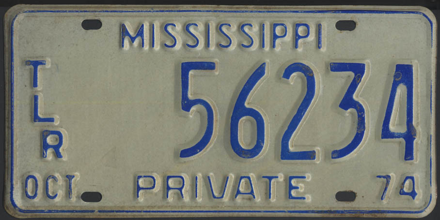 1974 Mississippi Private Trailer license plate 56234
