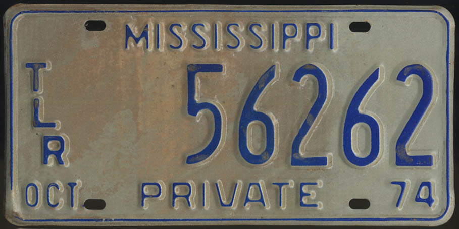 1974 Mississippi Private Trailer license plate 56262