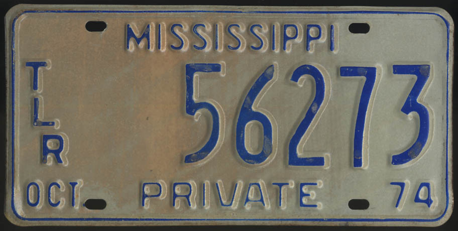 1974 Mississippi Private Trailer license plate 56273