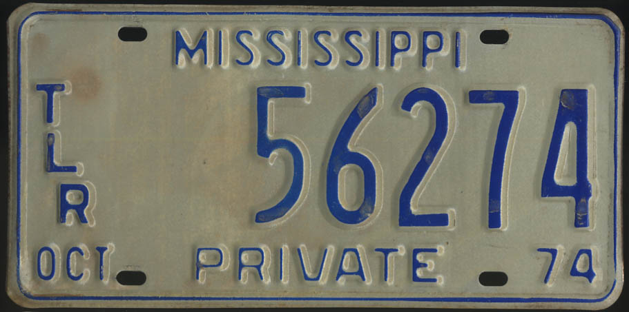 1974 Mississippi Private Trailer license plate 56274