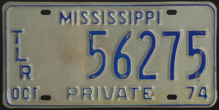 1974 Mississippi Private Trailer license plate 56275