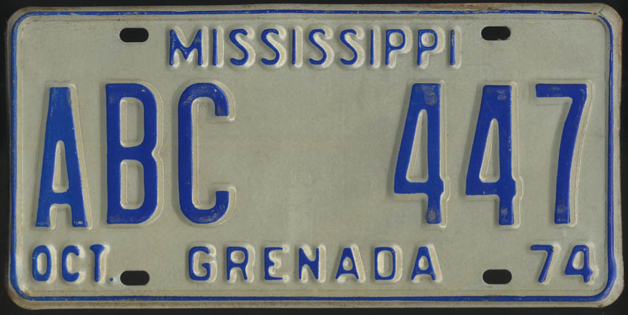 1974 Mississippi Grenada County license plate ABC 447