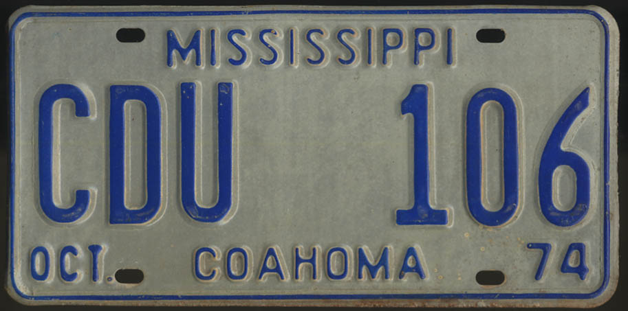 1974 Mississippi Coahoma County license plate CDU 106