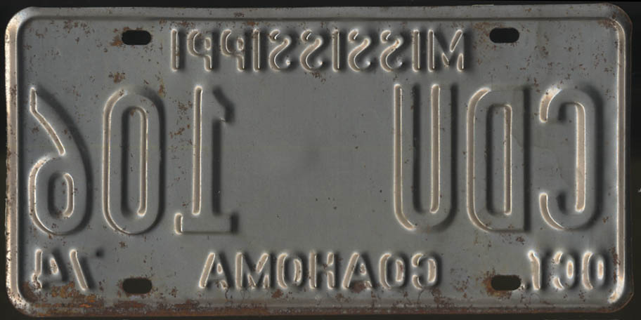 Image for 1974 Mississippi Coahoma County license plate CDU 106