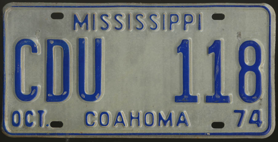 1974 Mississippi Coahoma County license plate CDU 118